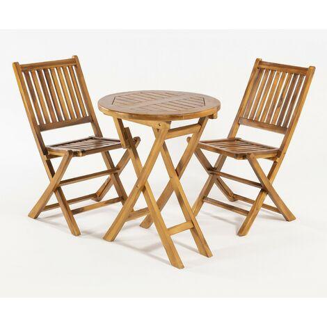 Conjunto de exterior   Mesa redonda 60 cm y 2 sillas plegables   Madera teca grado A   Tratamiento al agua aplicado   Portes gratis