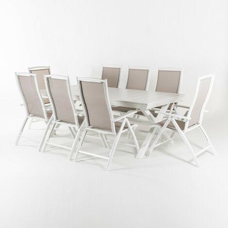 Conjunto exterior mesa extensible 215/295 cm y 8 sillones reclinables y plegables, Aluminio Color Blanco, 8 plazas
