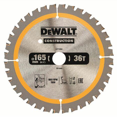 DeWALT Lame de scie circulaire, pour scies circulaires sans fil, 165/20 mm, 40 dents - DT1950-QZ