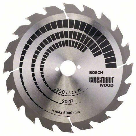 Bosch Professional Lame de scie circulaire Construct Wood, 250 x 30 x 3,2 mm, 20 - 2608641774