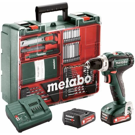 Metabo Perceuse-visseuse sans fil PowerMaxx BS 12 Set, 12V 2x2Ah Li-Ion, Chargeur SC 30, Coffret, Atelier mobile - 601036870