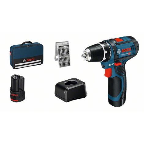 Bosch Perceuse-visseuse sans fil GSR 12V-15, 2x Batterie 2Ah, Chargeur - 060186810H