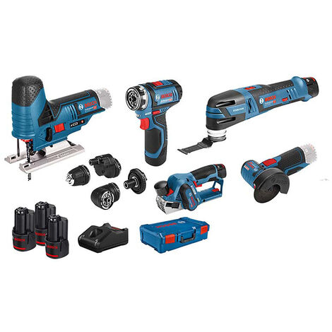 Bosch Professional Set de 5 outils - 12V: GSR (FC) + GOP + GHO + GWS + GST + GBA (2x 2.0 Ah + 1x 3.0 Ah) + GAL + XL-BOXX - 0615A0017D