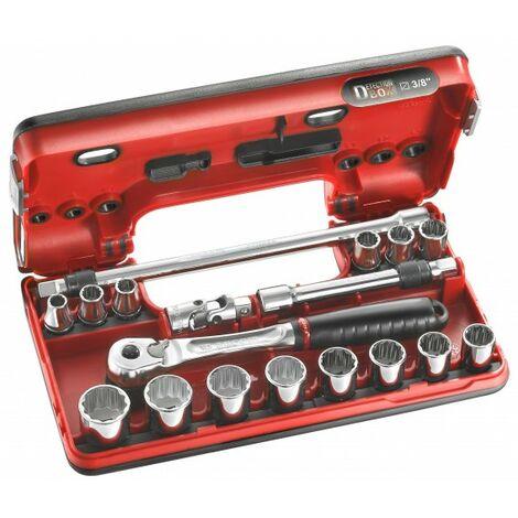 """Facom Coffret 3/8"""" Detection Box métriques - 12 pans - JL.DBOX501"""