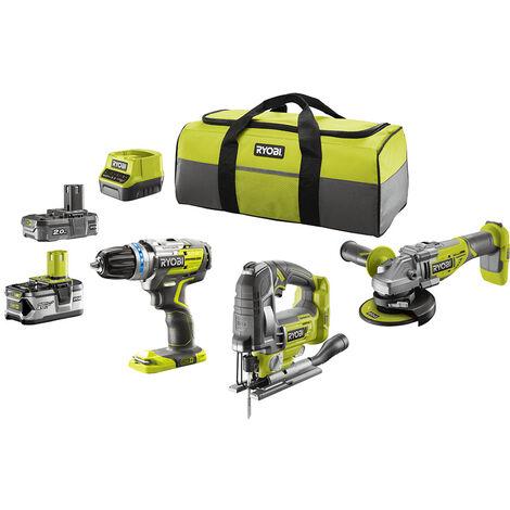 Ryobi Ensembles d'outils sans fil, 18 V/ 1x4,0+1x2,0 Ah - R18CK3BL-242S