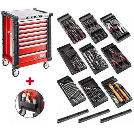 Facom Servante d'atelier (JET.8M3) rempli avec 9 modules, rouge - SPOTLIGHTJET8M