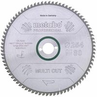 Metabo Lame de scie 'Multi cut - Professional', 254x30, Z80 FZ/TZ, 5° nég. - 628223000