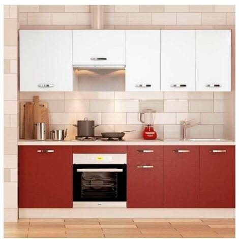 Cocina completa 240 cm(ancho) color burdeos-blanco KIT-KIT Opción Sin zócalo y sin encimera