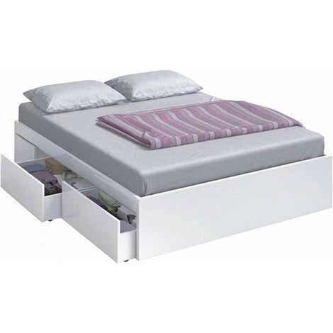 Cama Kendra para colchon de 150x190 con 4 cajones 37 cm(alto)156 cm(ancho)196 cm(largo) Color Blanco artik