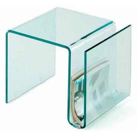 Mesita auxiliar cristal con revistero Ada Color Transparente