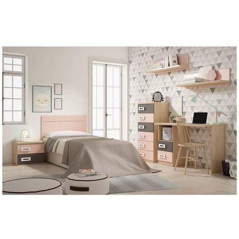 Conjunto dormitorio juvenil en acabado pino/rosa/gris de 90 cm. Color Pino/Rosa