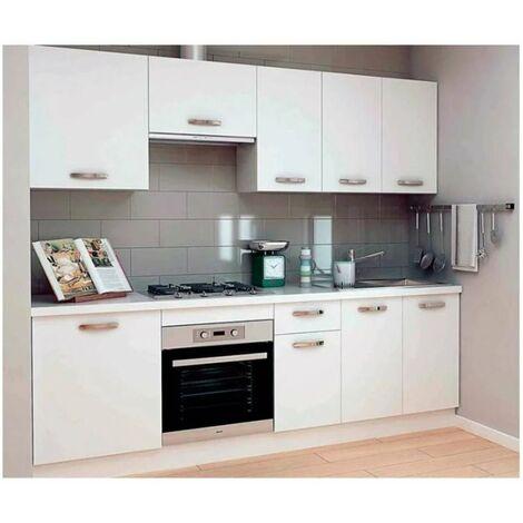 Cocina completa 240 cm(ancho) color blanco KIT-KIT Opción Sin zócalo y sin encimera