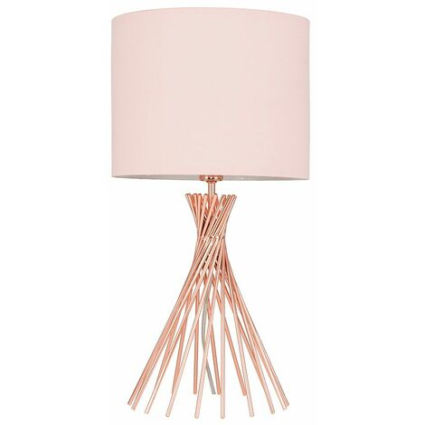 MiniSun - 40cm Copper Metal Twist Table Lamp With Small Drum Shade - Pink