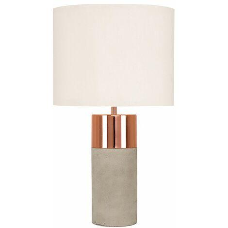 MiniSun - 2 x Cement / Stone & Copper Table Lamps + Beige Light Shades