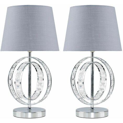 MiniSun - 2 x Chrome Acrylic Jewel Touch Table Lamps With Grey Light Shades