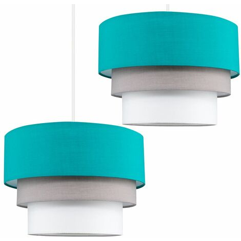 MiniSun - 2 x Round 3 Tier Turquoise Teal, Grey & White Fabric Ceiling Light Shades + 10W LED GLS Bulbs Warm White