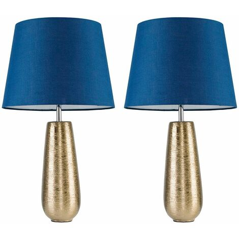 MiniSun - 2 x Gold Ceramic Touch Table Lamps With Navy Blue Light Shade + 5W Dimmable LED Candle Bulbs Warm White