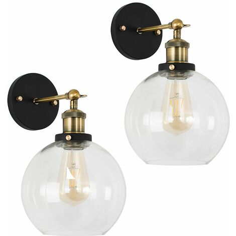 2 x Industrial Black & Gold Wall Light Fittings with Clear Glass Globe Shade - No Bulbs