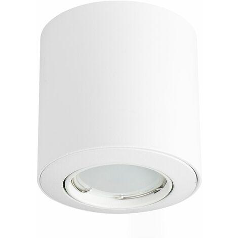 GU10 Tiltable Surface Mounted Ceiling Spotlight + GU10 LED Bulb - Cool White