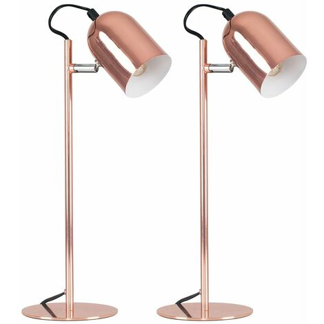 MiniSun - 2 x Copper Adjustable Bedside Desk Table Lamps + 4W LED Golfball Bulbs Warm White