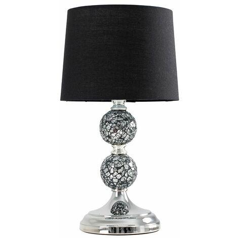 MiniSun - Mosaic Crackle Glass Ball Table Lamp Chrome Fabric Shade - Black
