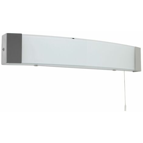 Ip44 Rated LED Silver Metal & Glass Bathroom Wall Light With Pull Cord - Cool White - White