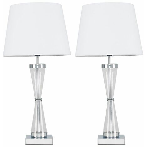 MiniSun - 2 x Chrome Hourglass Table Lamps With Tapered Shades - White