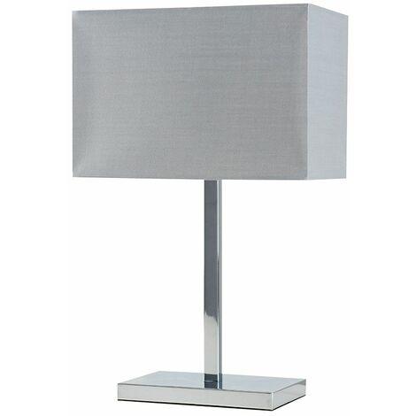 MiniSun - Chrome Tube Stem Table Lamp Grey Fabric Rectangle Shade - No Bulb