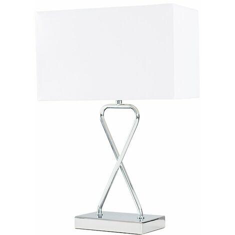 Chrome Bedside Lounge LED Table Lamp - No Bulb - Silver