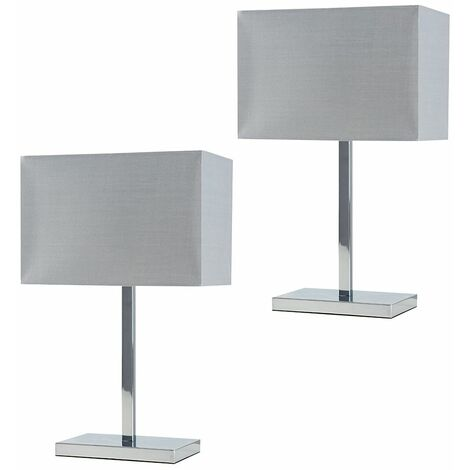 MiniSun - Pair Chrome Tube Stem Table Lamp Grey Fabric Rectangle Shade - No Bulb