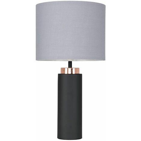 MiniSun - Black and Copper Table Lamp & 4W LED Bulb Warm White - Grey