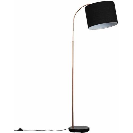 Copper / Black Curved Floor Lamp + Black Shade 6W LED Bulb Warm White