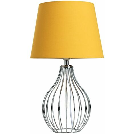 Chrome Wire Basket Table Lamp + Mustard Shade - Silver