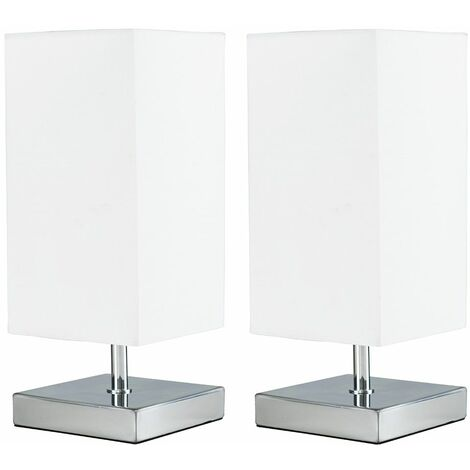 MiniSun - 2 x Square Chrome Touch Table Lamps - White