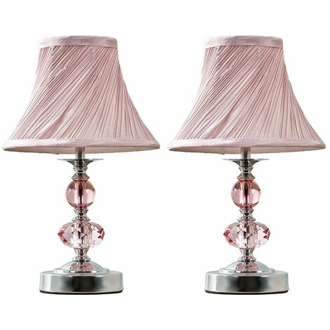 MiniSun - 2 x Chrome And Pink Touch Table Lamps + Pleated Shade - No Bulbs