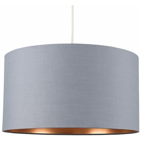 Reni 45cm Ceiling Floor Lampshade - Grey & Copper - Grey