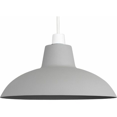 Cement / Stone Painted Metal Ceiling Pendant Light Shade 10W LED Bulb Warm White - Grey