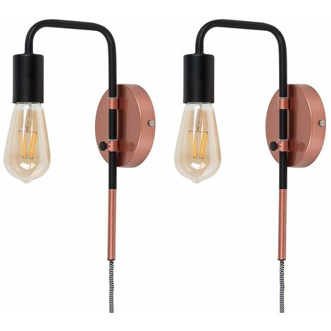2 X Industrial Copper & Black Plug In Swing Arm Wall Lights