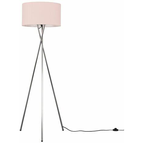 MiniSun - Tripod Floor Lamp in Chrome + Shade - Pink