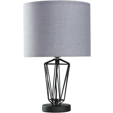 MiniSun - Black Metal Wire Frame Table Lamp - Grey