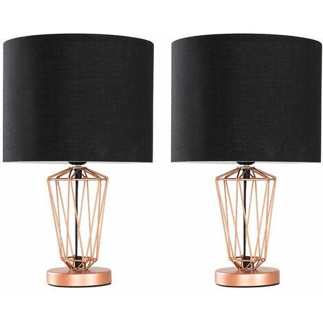 MiniSun - 2 x Copper Metal Wire Frame Table Lamps s - Black