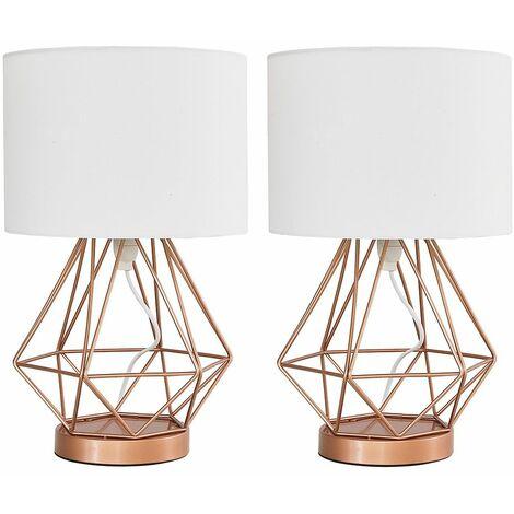 MiniSun - 2 x Copper Touch Table Lamps + White Shade - No Bulbs
