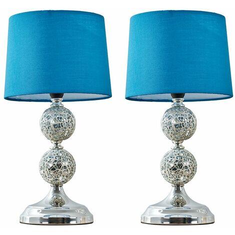 2 x Decorative Chrome & Mosaic Crackle Glass Table Lamps - Blue