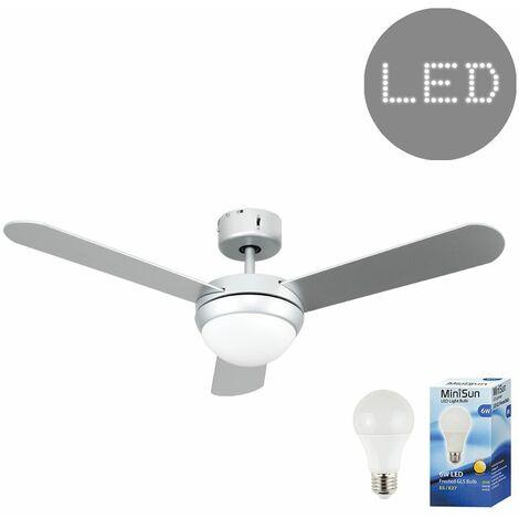 MiniSun - Taurus 3 Blade Ceiling Fan + LED GLS Bulb