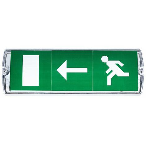 LED 3W Fire Exit Sign Bulkhead Light Non Maintained Cool White Lighting - White