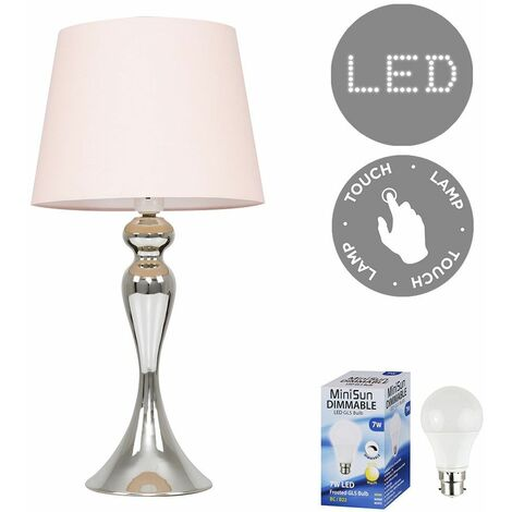 MiniSun - Touch Table Lamp in Chrome with LED Bulb - Pink