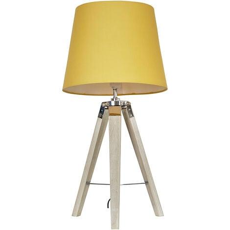 MiniSun - Tripod Table Lamp in Light Wood - Mustard