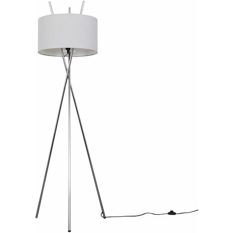 Chrome Metal Crossover Tripod Floor Lamp + Pale Grey Shade - Silver