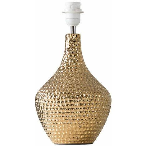 Metallic Gold Indent Textured Ceramic Table Lamp Base - Gold