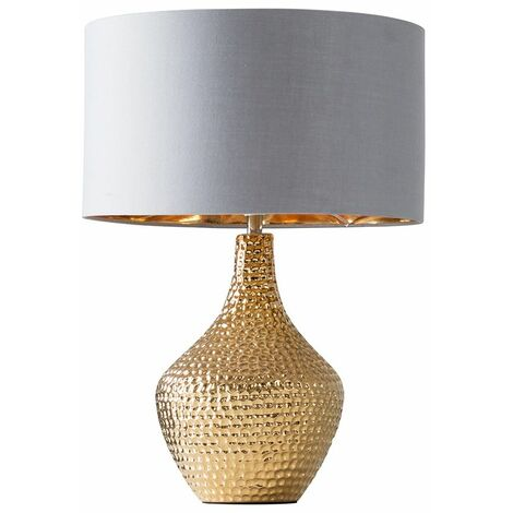 Metallic Gold Indent Textured Ceramic Table Lamp Grey/Gold Drum Shade - No Bulb - Gold